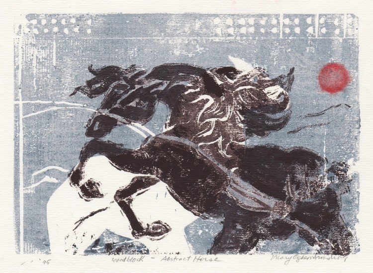 Horse and red sun