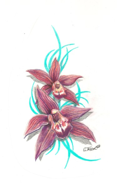 Orchid - Tattoo Design by Gayle Taylor | ArtWanted.com