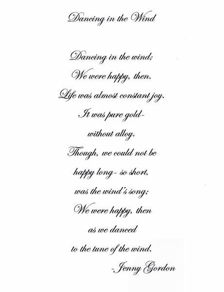 Dancing in the Wind - POEM by Virginia Gordon | ArtWanted.com