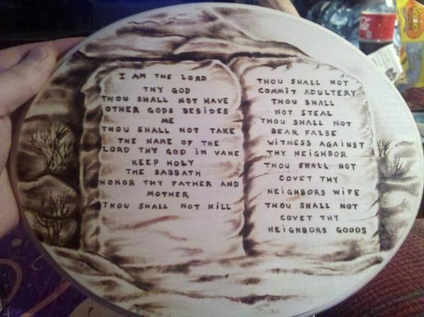 ten commandments woodburning