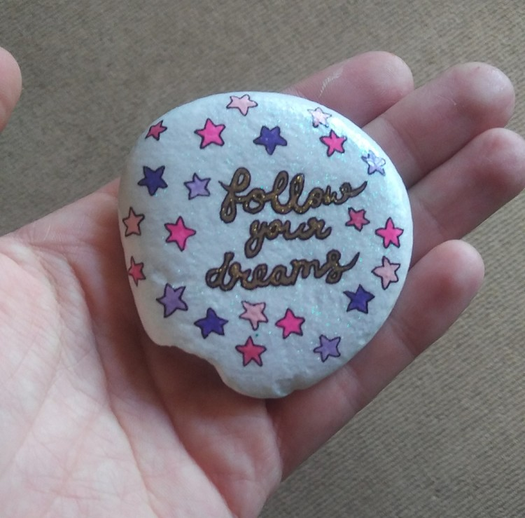 Hand painted rock art stone Follow Your Dreams