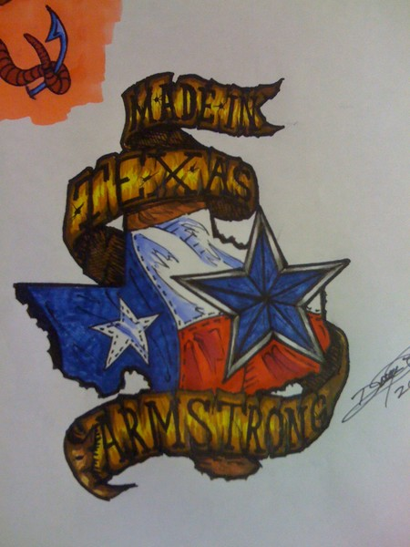 made in texas armstrong tattoo design by doug armstrong. Black Bedroom Furniture Sets. Home Design Ideas