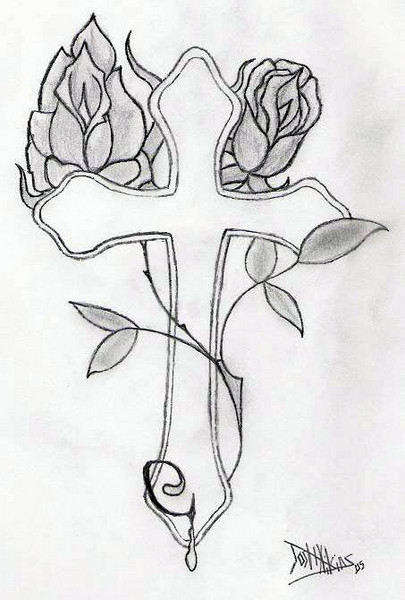 Gallery For gt Pencil Drawings Of Roses And Crosses