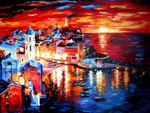 Vernazza Sunset by Daniel Wall   ArtWanted.com