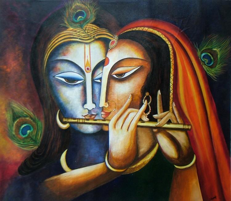 Divine Companions Krishna Radha Original Painting