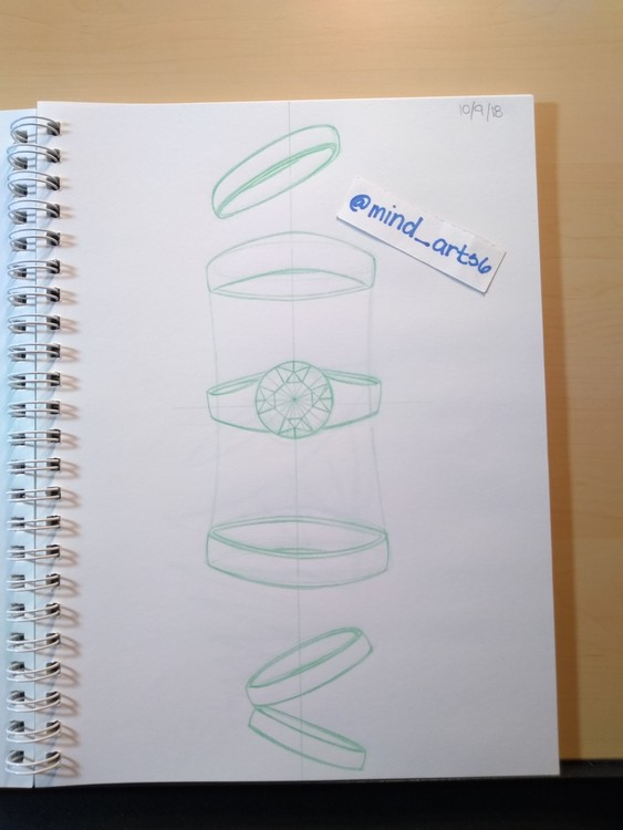 Diamond ring and rings sketches