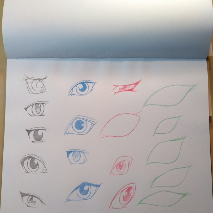Practice sketches of eyes