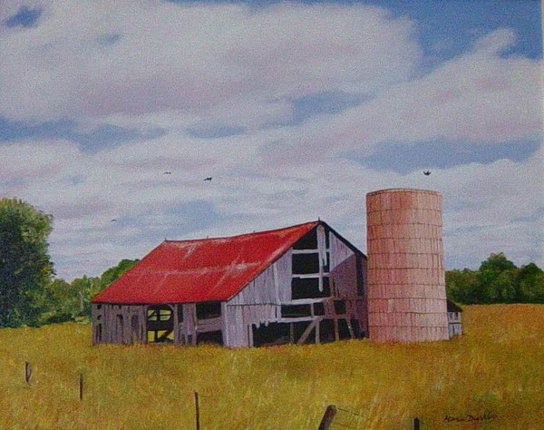 Old Red Roofed Barn By Marie Dunkley Artwanted Com
