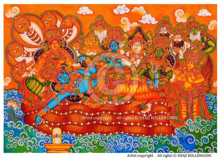 ananthasayanam kerala mural by shaji kollengode