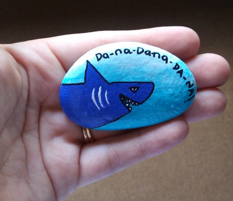 Hand painted rock art shark