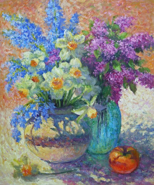 Still life with daffodils and lilacs
