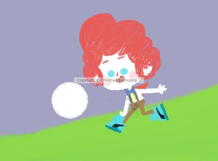 Basque boy playing football