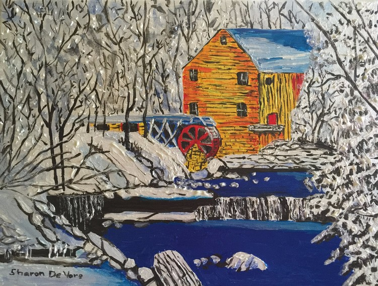 Watermill in Winter Metallic