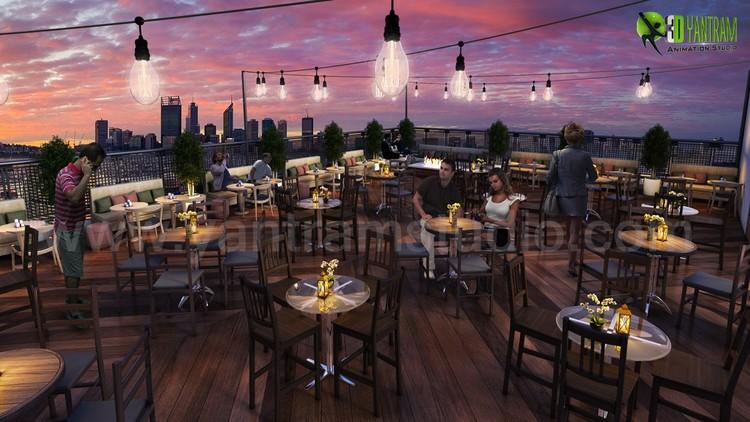 Rooftop Layout Lounge 3D Design Evening Sydney