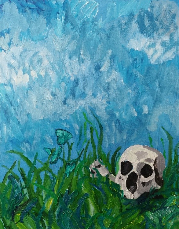 Skull and Ivy In The Grass