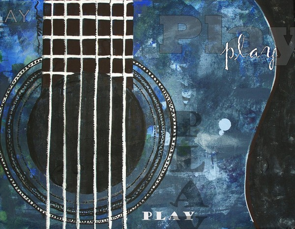 Play Blue Guitar Decorative Artwork