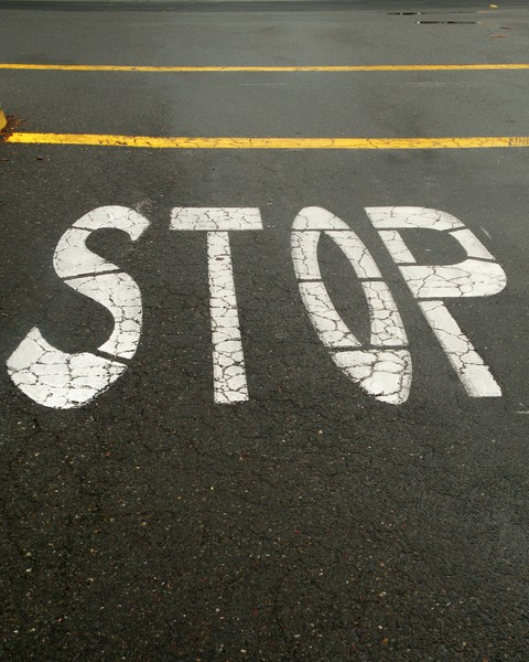 Stop with yellow lines