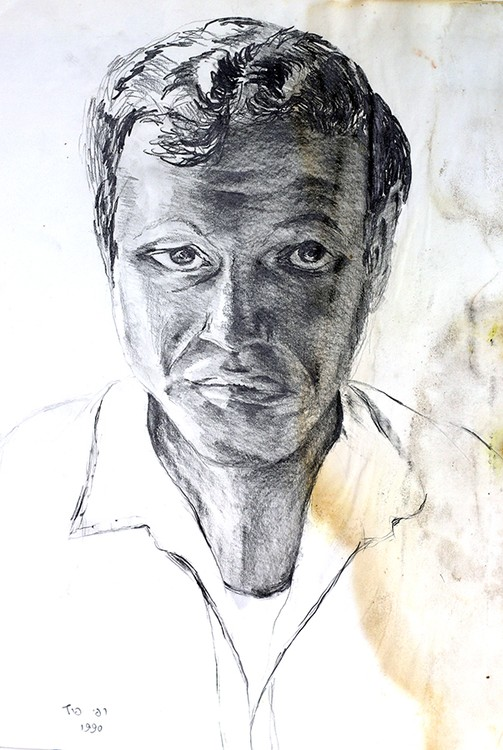 expressive man portrait drawing male portraits drawings ink on paper