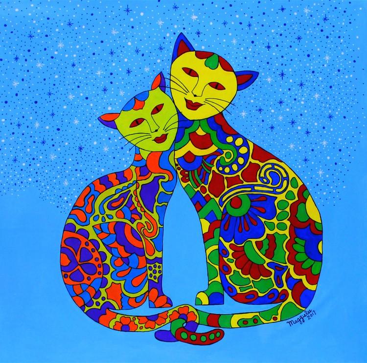 Lovely cats acrylic original