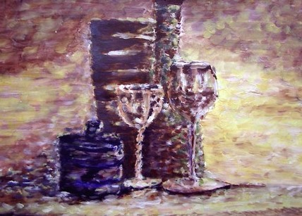 still life with empty glass