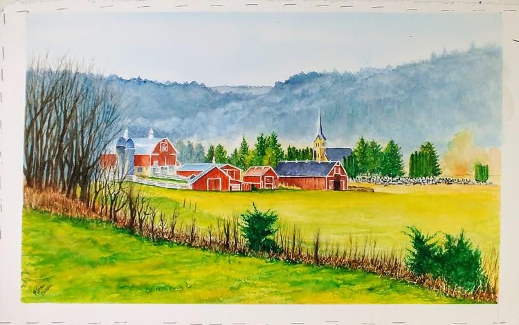 Barns and Church Steeple