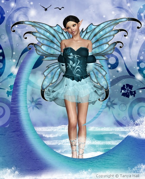 Ocean Blue Fantasy Fairy Wall Art