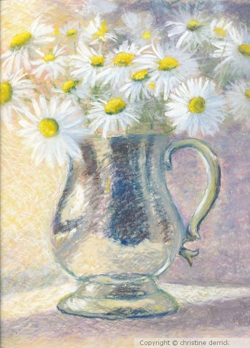 Pewter Mug and Daisies