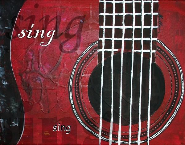 Sing - red guitar decorative artwork