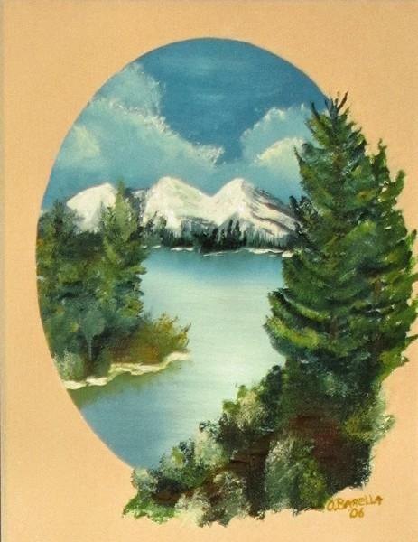 Lake Scene in a Oval