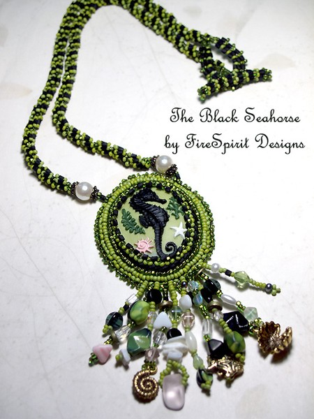 The Black Seahorse- bead embroidery necklace