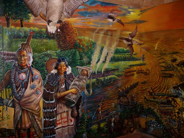 Woodland period mural detail