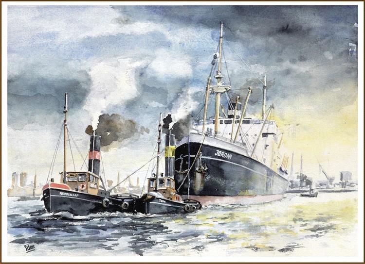 Towing a seaship offshore