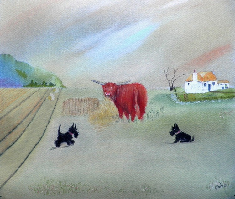 THE HEILAND COO AND TWA SCOTTIE DUGS