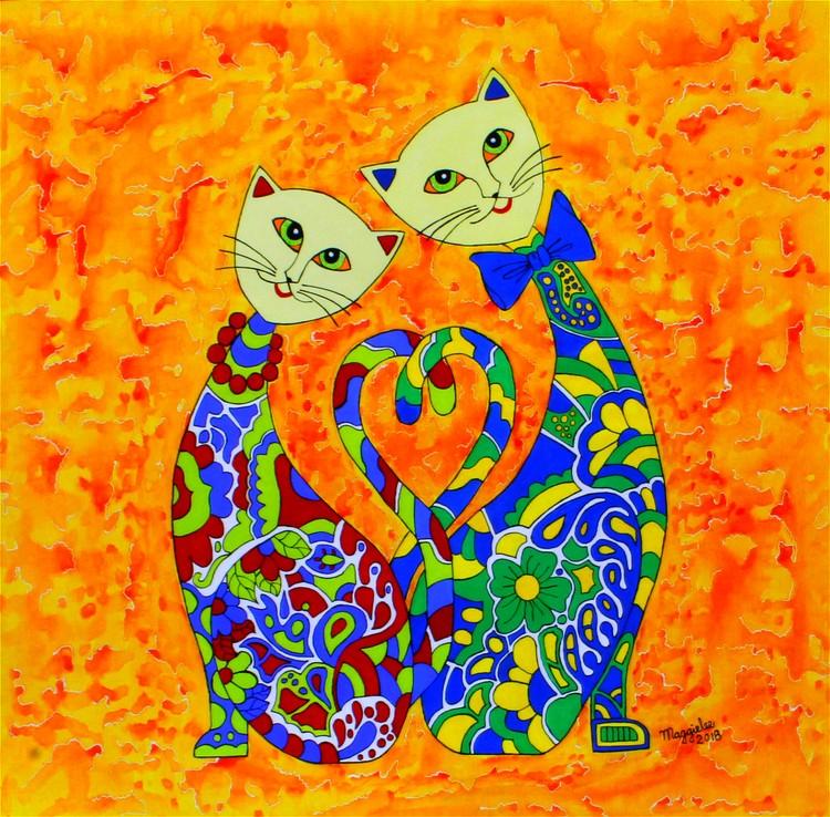 Floral cats acrylic original