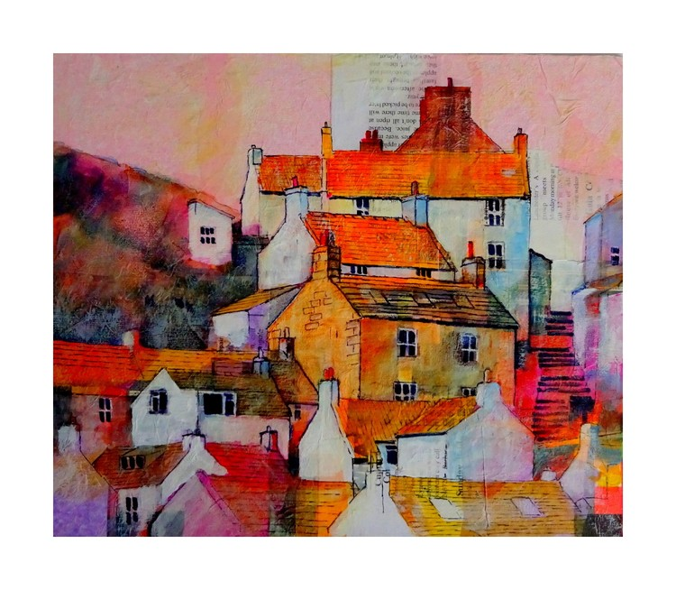 1615 Staithes cottages on the hill