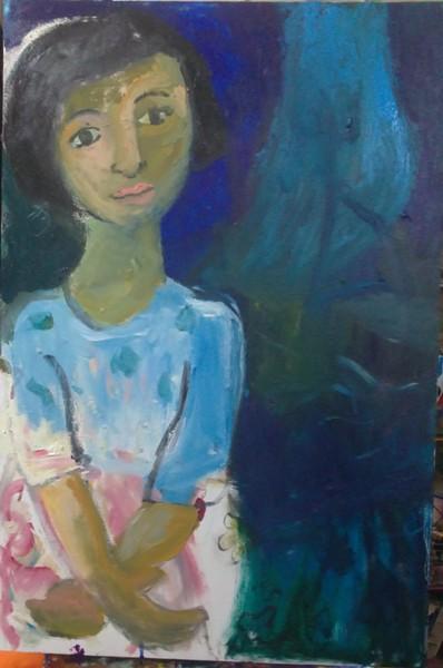 portrait of  blue dress girl