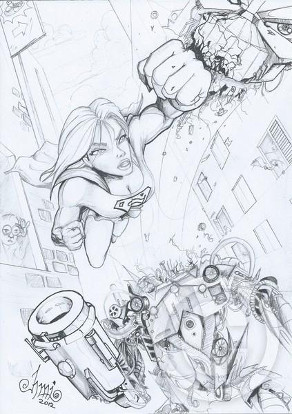 Supergirl Punching A Robot