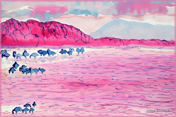 Bathing Flamingos at Sunset