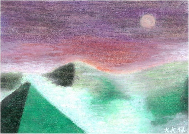 The story of the fog, amateur artwork and short story,for sale