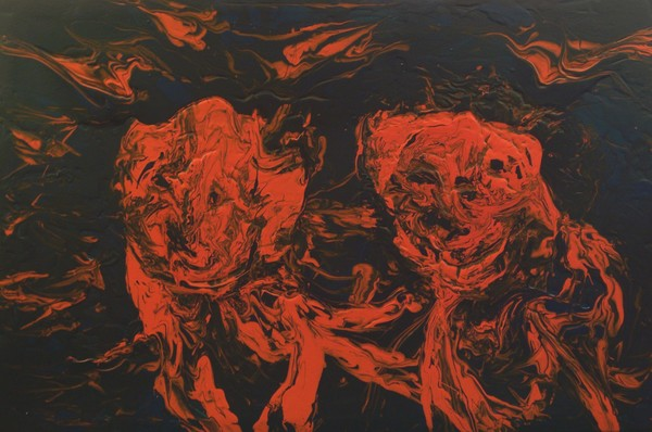 Two Dogs Abstract Finger Painting