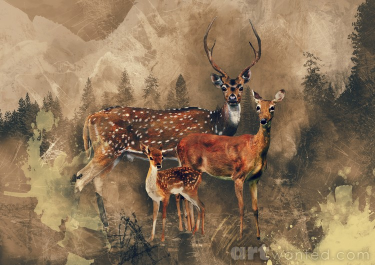 Deer and moutain