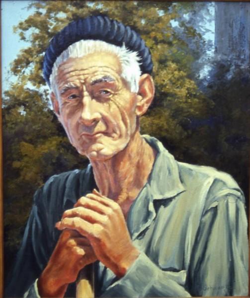 Otis, the Gardener - Oil on canvas