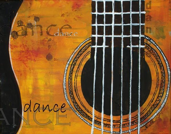 Dance - yellow guitar decorative artwork