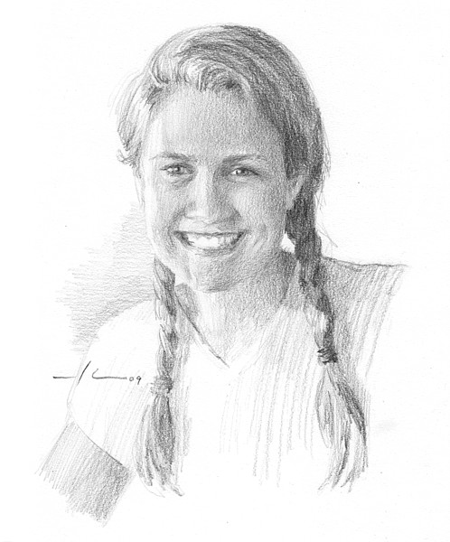 Young woman braids drawing
