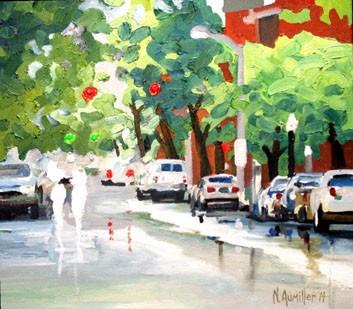 Wet Street: oil sketch