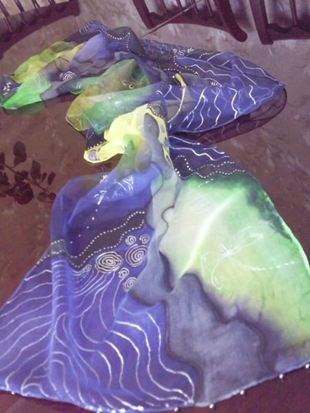 Silk Scaf hand paitned-waves-purple