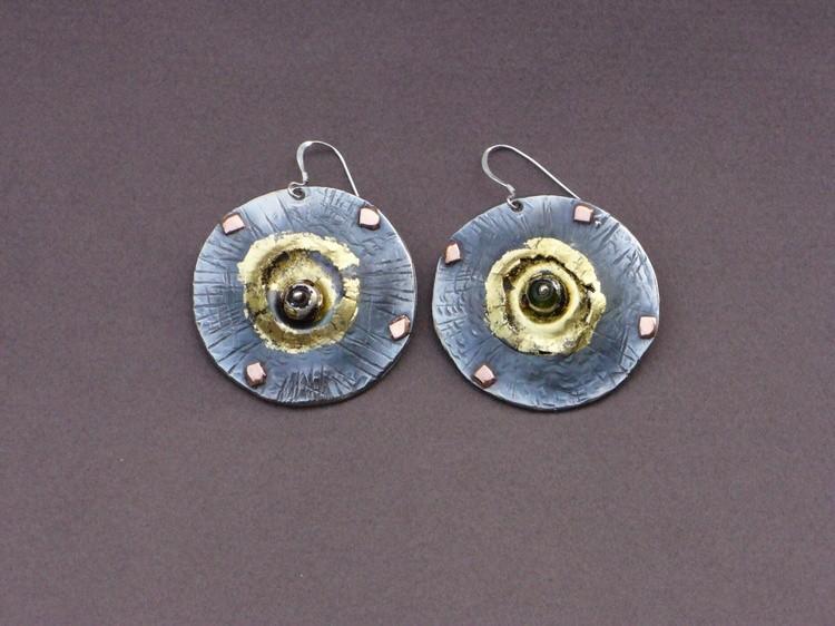 Titanium Earrings ,Glass by Mirek Gomolka Art