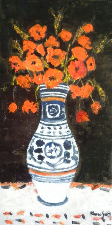 Poppies in a traditional pot