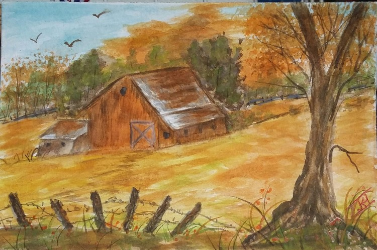 WATERCOLOR , OLD  BARN
