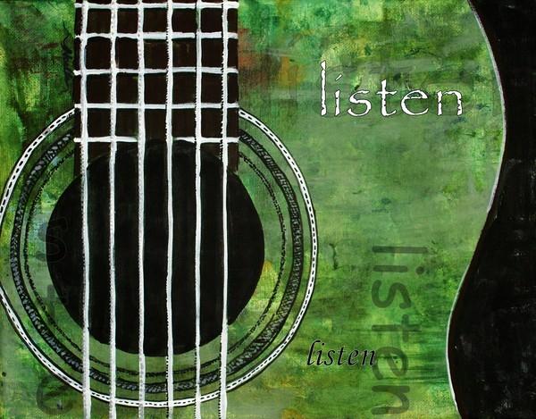 Listen - green guitar decorative artwork
